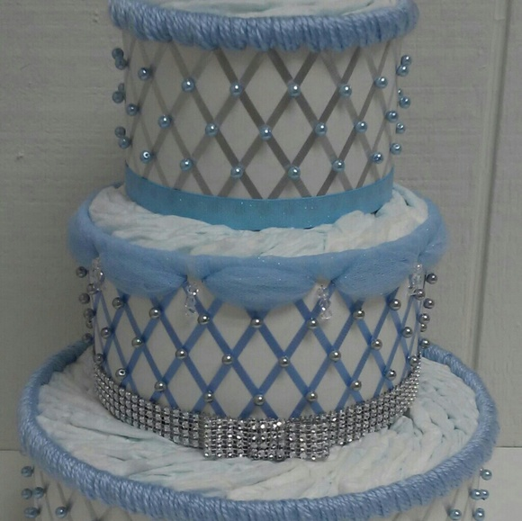 Readymadediapercakes Accessories Baby Blue And Silver Elegant 3